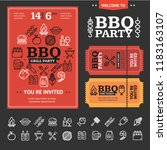bbq party invitation poster ... | Shutterstock .eps vector #1183163107