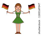 german woman with flags germany ... | Shutterstock .eps vector #1183169347
