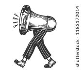 loudspeaker walks on its feet... | Shutterstock .eps vector #1183172014