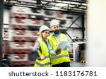 a portrait of an industrial man ... | Shutterstock . vector #1183176781