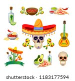 mexican food and decorations... | Shutterstock .eps vector #1183177594