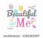 typography slogan with cute... | Shutterstock .eps vector #1183181047