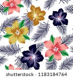 big flowers pattern with leaves ... | Shutterstock .eps vector #1183184764