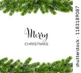 christmas green pine branches.... | Shutterstock .eps vector #1183189087