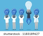 person with a light bulb head... | Shutterstock .eps vector #1183189627