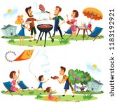 picnic friends and family...   Shutterstock .eps vector #1183192921