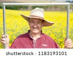 farmer with photo frame is... | Shutterstock . vector #1183193101