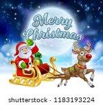 cartoon santa claus in his... | Shutterstock .eps vector #1183193224