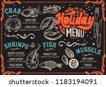 christmas menu for seafood... | Shutterstock .eps vector #1183194091