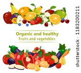 organic and healthy fruits and... | Shutterstock .eps vector #1183200211