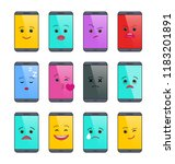 smartphone with funny emoticons ... | Shutterstock .eps vector #1183201891