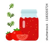 tomato sauce in a glass jar... | Shutterstock .eps vector #1183203724