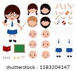 adorable little school girl... | Shutterstock .eps vector #1183204147