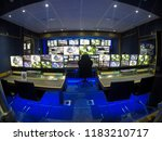 inside an outside broadcasting... | Shutterstock . vector #1183210717