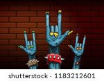vector blue cartoon zombie rock ... | Shutterstock .eps vector #1183212601