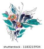 clipart flower watercolor hand... | Shutterstock . vector #1183215934