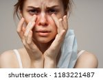 unhealthy appearance of a woman ...   Shutterstock . vector #1183221487
