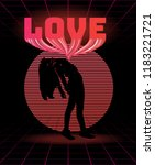 love. vector poster with... | Shutterstock .eps vector #1183221721