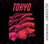 tokyo. vector poster with hand... | Shutterstock .eps vector #1183221724