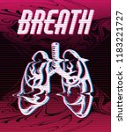breath. vector poster with hand ... | Shutterstock .eps vector #1183221727