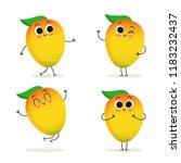 mango. cute cartoon exotic... | Shutterstock .eps vector #1183232437