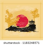card with asian landscape | Shutterstock . vector #1183248571