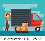 logistic services with delivery ... | Shutterstock .eps vector #1183249387