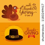 thanks giving card with turkey... | Shutterstock .eps vector #1183249417