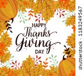 happy thanks giving card with... | Shutterstock .eps vector #1183249567