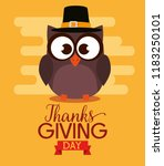 happy thanks giving card with... | Shutterstock .eps vector #1183250101