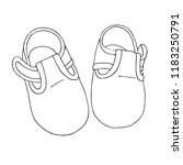 sketch of shoes for the baby. a ...   Shutterstock .eps vector #1183250791