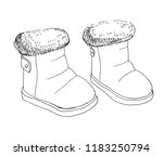 sketch of children's boots. a...   Shutterstock .eps vector #1183250794