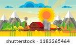 abstract vector countryside... | Shutterstock .eps vector #1183265464