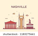 nashville skyline  tennessee ... | Shutterstock .eps vector #1183275661