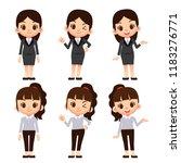 vector set of cute female... | Shutterstock .eps vector #1183276771
