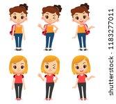 vector set of cute female... | Shutterstock .eps vector #1183277011