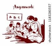 anganwadi rular indian school.... | Shutterstock .eps vector #1183280557