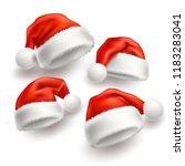 realistic santa hat  cap set.... | Shutterstock .eps vector #1183283041