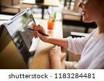 businesswoman hand pointing... | Shutterstock . vector #1183284481