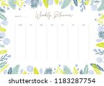 cute vector weekly planner... | Shutterstock .eps vector #1183287754