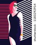 fashion woman in style pop art. ...   Shutterstock .eps vector #1183292914