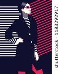 fashion woman in style pop art. ... | Shutterstock .eps vector #1183292917