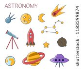 astronomy simple flat icon set. ... | Shutterstock .eps vector #1183299874
