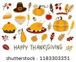 set of thanksgiving day... | Shutterstock .eps vector #1183303351