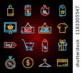 black friday neon icons. vector ... | Shutterstock .eps vector #1183305547