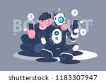 chat bot helps man in his... | Shutterstock .eps vector #1183307947