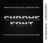 beveled chrome alphabet font.... | Shutterstock .eps vector #1183313347