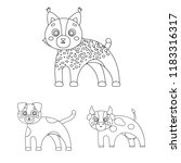 toy animals outline icons in... | Shutterstock .eps vector #1183316317