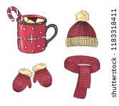 vector christmas set of winter... | Shutterstock .eps vector #1183318411