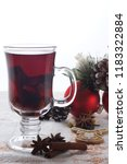hot mulled wine with christmas...   Shutterstock . vector #1183322884